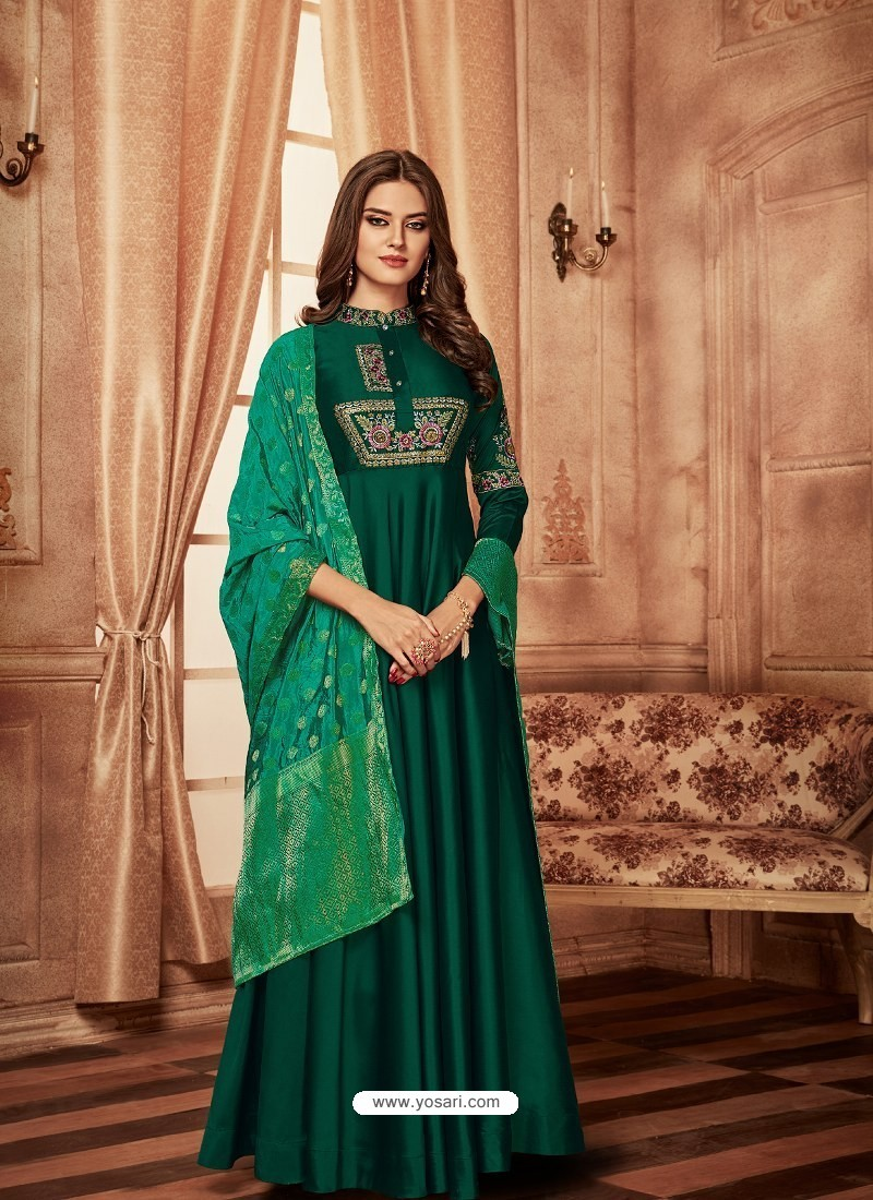 f1461661822a28 Buy Dark Green Tapeta Jacquard Worked Designer Gown Style Suit ...