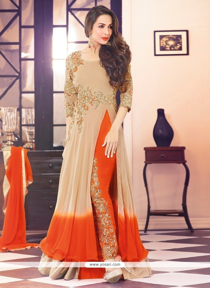 Malaika Arora Khan Beige And Orange Pant Style Suit