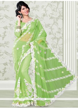 Galvanizing Green Net Embroidery Designer Saree