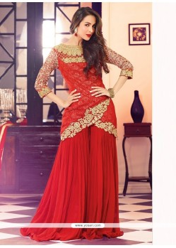 Malaika Arora Khan Red Georgette Palazzo Suit