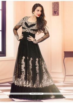 Malaika Arora Khan Black Net And Georgette Anarkali Suit
