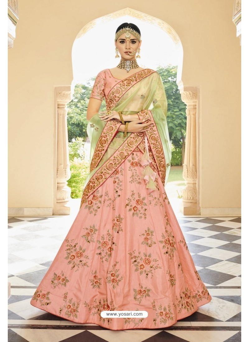 61ef8715fa Buy Peach Silk Heavy Embroidered Designer Lehenga Choli | Designer ...