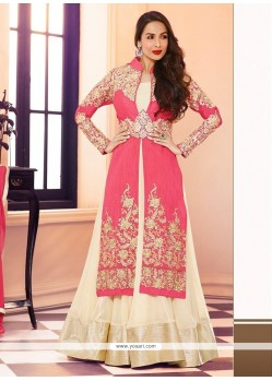 Maliaika Arora Khan Cream And Pink Georgette Anarkali Suit