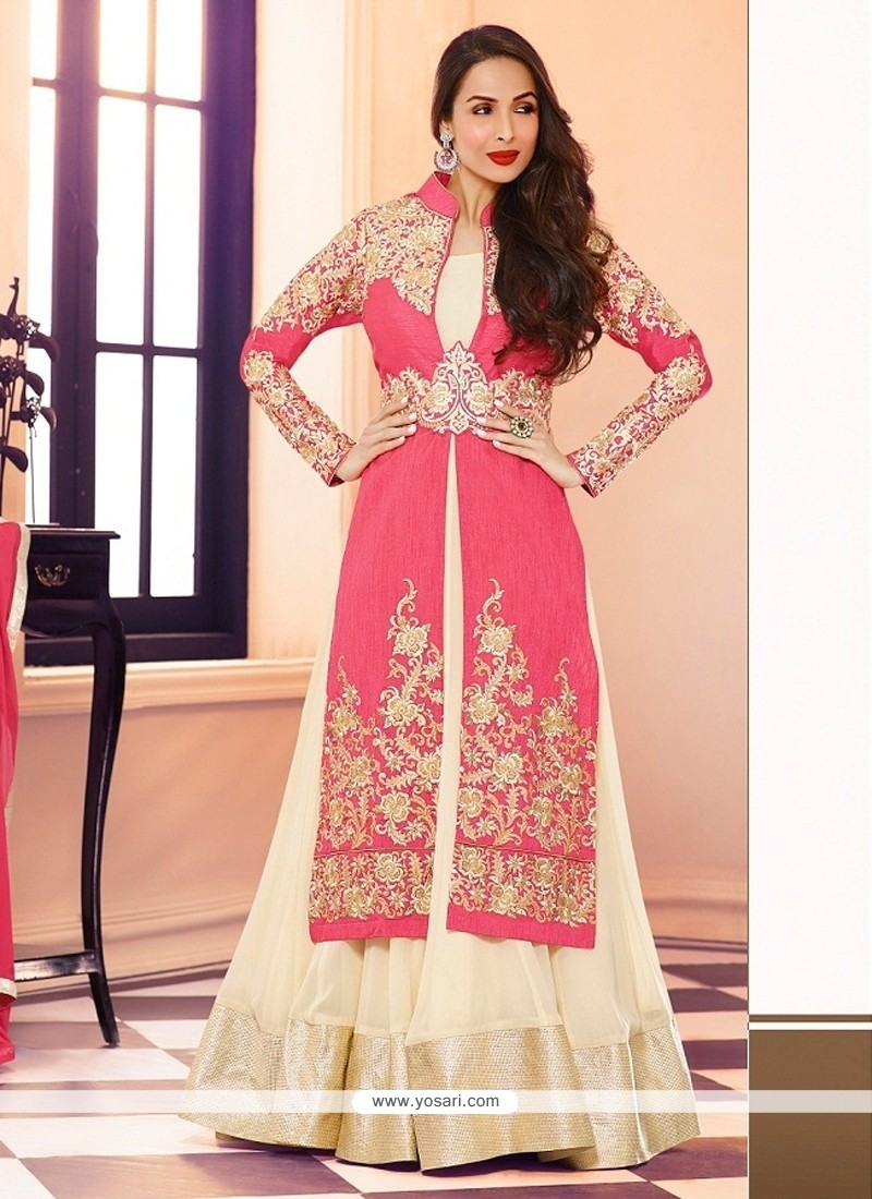 Maliaika Arora Khan Cream And Pink Georgette Anarkali Suit