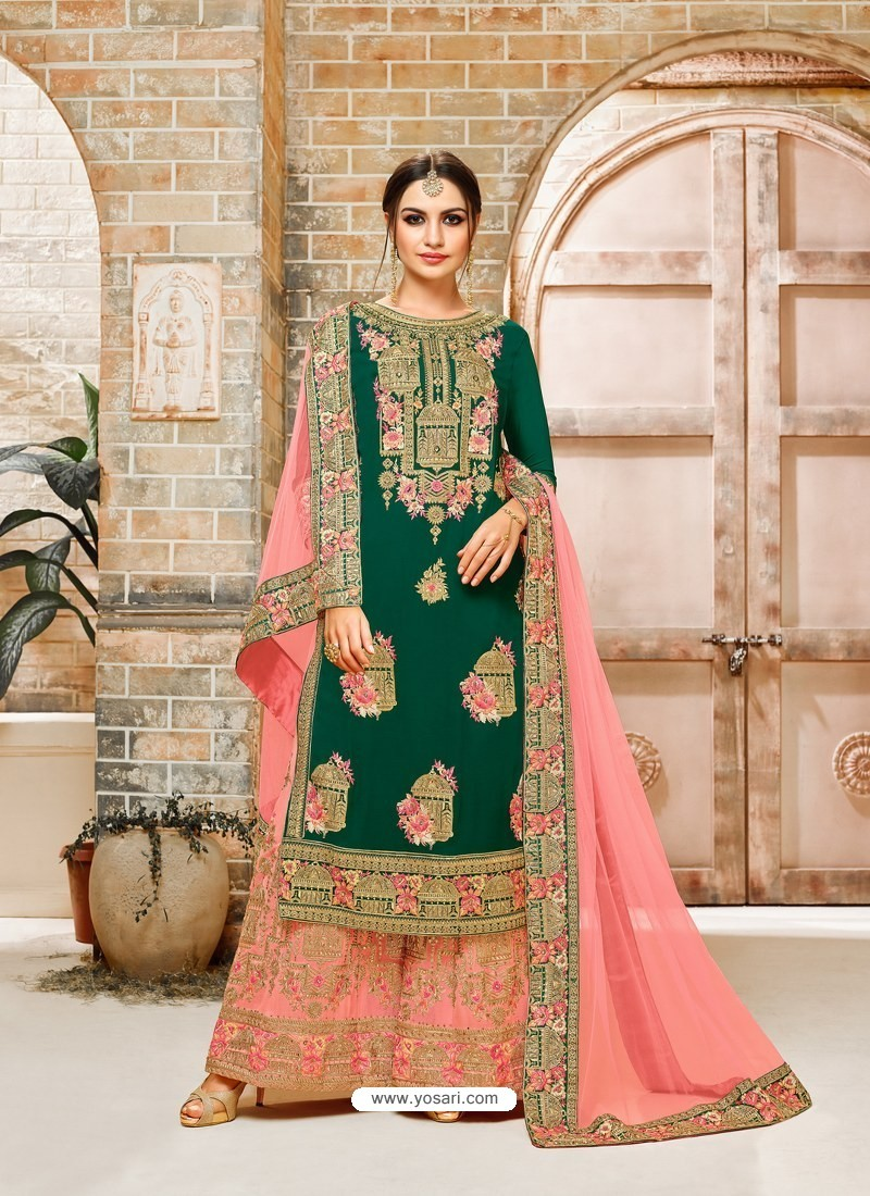 Buy Dark Green Faux Georgette Hand And Embroidered Worked Sarara