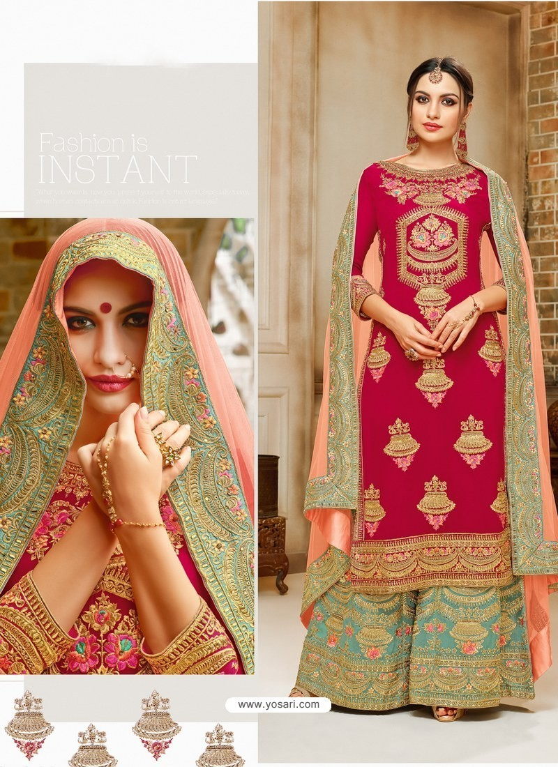 b00e1acd74 Red And Aqua Mint Faux Georgette Hand And Embroidered Worked Sarara Suit