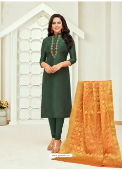Dark Green Jacquard Work Churidar Suit