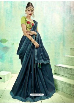 Tealblue Silk Butti Worked Saree