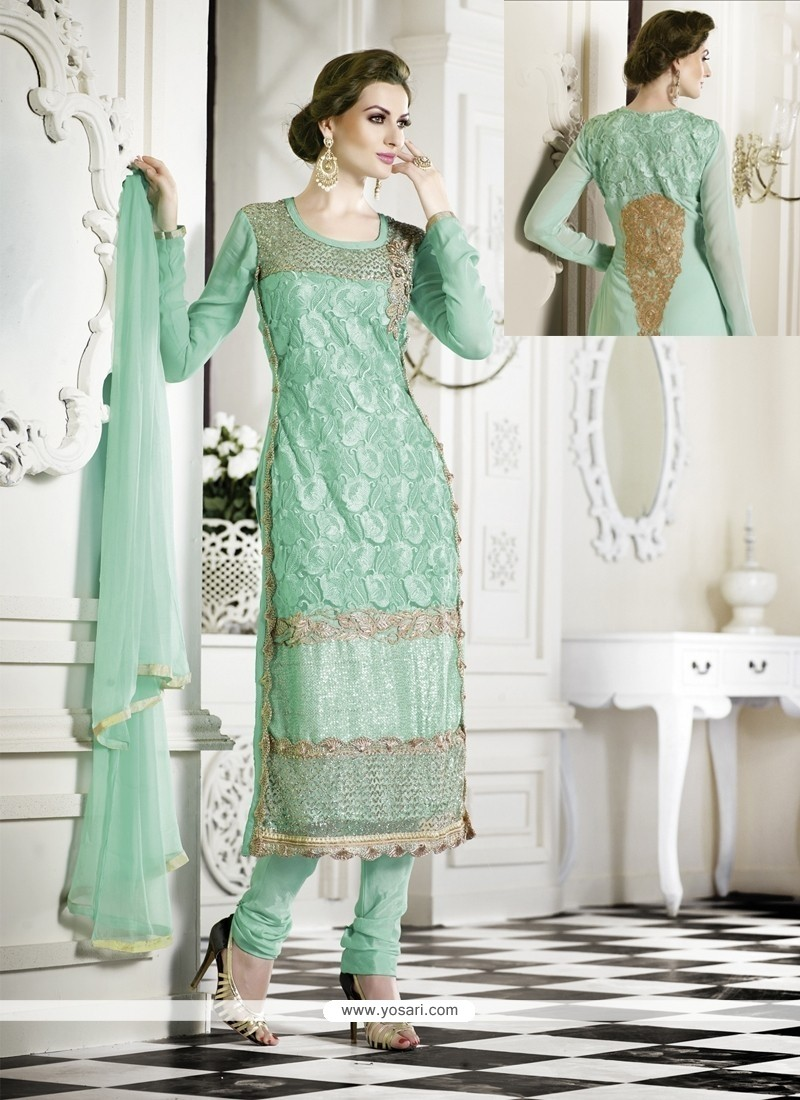 Lovely Sea Green Zari Work Georgette Churidar Suit