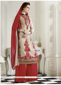 Tantalizing Cream Georgette Palazzo Salwar Suit