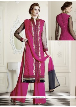 Hot Pink Embroidery Work Georgette Palazzo Suit