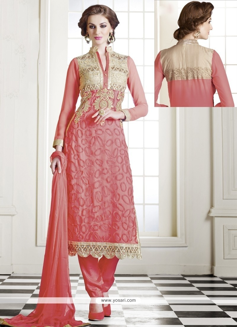 Pleasant Pink Georgette Churidar Salwar Suit