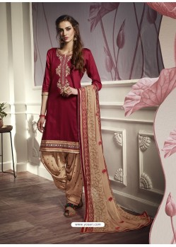 Maroon Cotton Satin Embroidered Salwar Suit