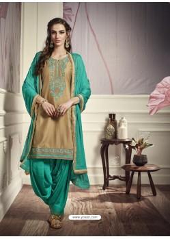Golden Cotton Satin Embroidered Salwar Suit
