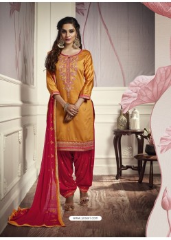 Mustard Cotton Satin Embroidered Salwar Suit