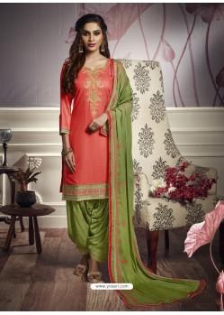 Incredible Orange Cotton Satin Embroidered Salwar Suit