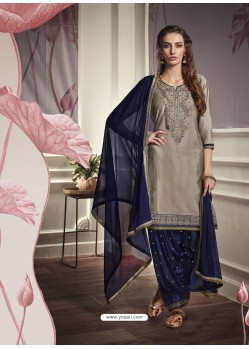 Grey Cotton Satin Embroidered Salwar Suit
