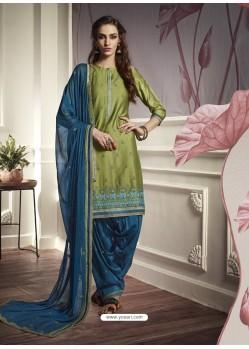 Green Cotton Satin Embroidered Salwar Suit