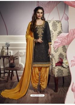 Black Cotton Satin Embroidered Salwar Suit