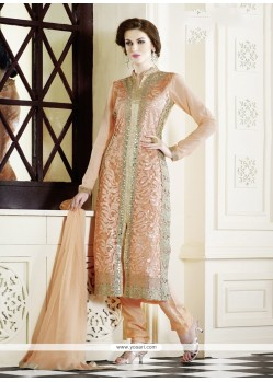 Classy Peach Embroidery Work Salwar Suit