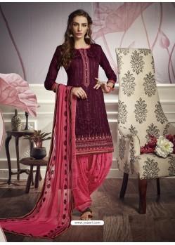 Purple Cotton Satin Embroidered Salwar Suit
