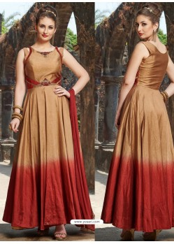 Gold And Red Chanderi Silk Hand Worked Gown Style Suit