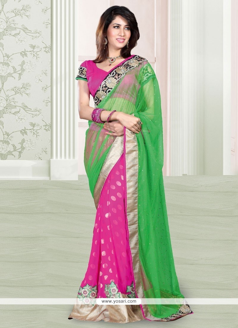 Eyeful Pink And Green Net Designer Saree