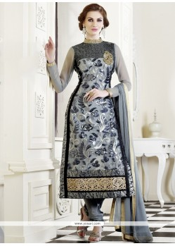 Modish Grey Georgette Churidar Salwar Suit