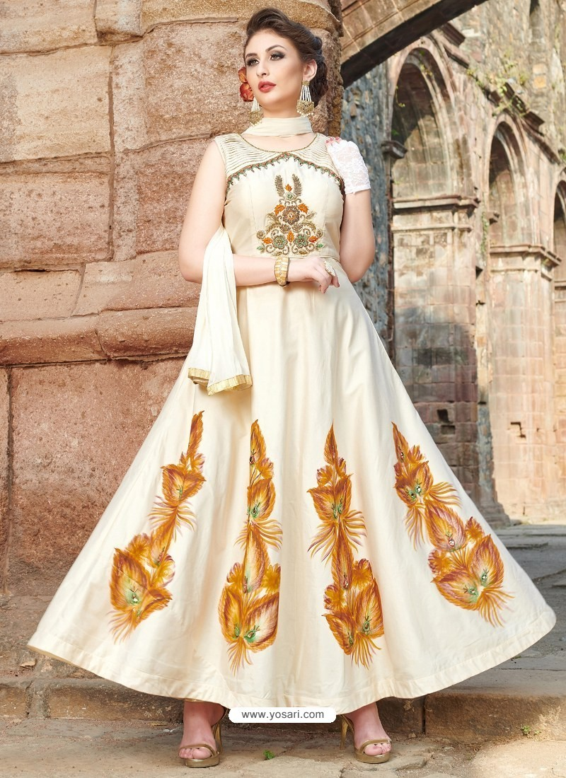 10559d80ce Buy Off White Chanderi Silk Hand Worked Gown Style Suit | Anarkali Suits