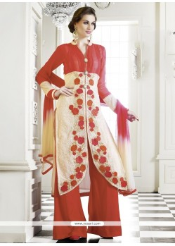 Cream And Red Georgette Palazzo Suit