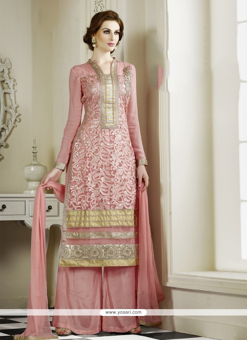 Flashy Pink Georgette Palazzo Salwar Suit