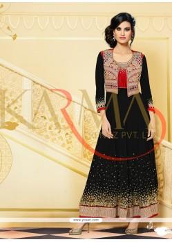 Embellished Black Embroidery Anarkali Suit