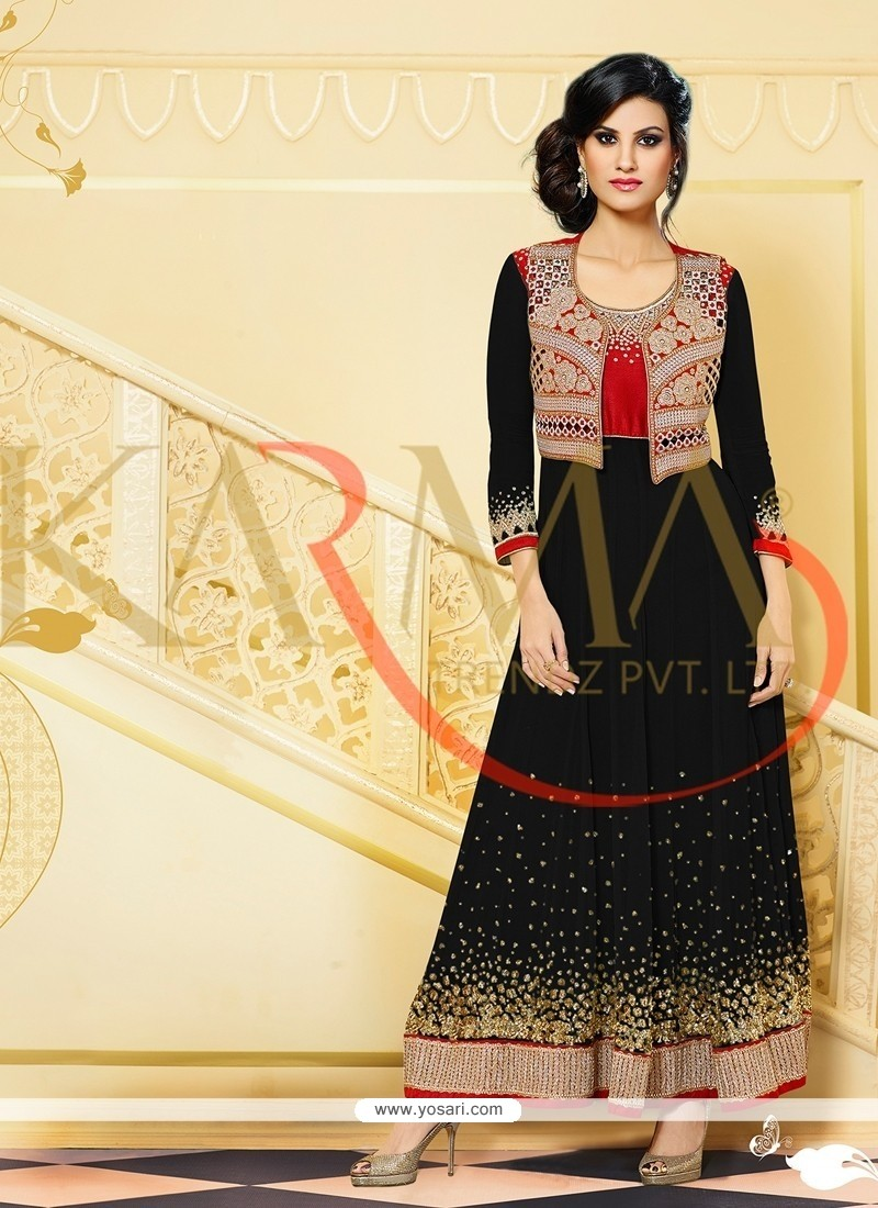 Embellished Black Embroidery Anarkali Suit