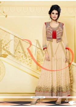Classy Cream Georgette And Embroidery Anarkali Suit