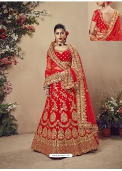 Modern Red Velvet Heavy Embroidered Bridal Lehenga Choli