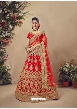 Charming Red Velvet Heavy Embroidered Bridal Lehenga Choli