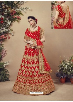 Genius Red Velvet Heavy Embroidered Bridal Lehenga Choli
