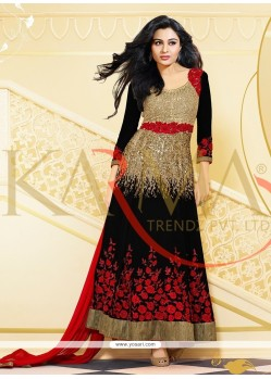 Pretty Black And Beige Embroidery Anarkali Suit