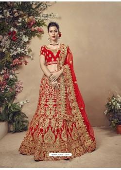 Attractive Red Velvet Heavy Embroidered Bridal Lehenga Choli