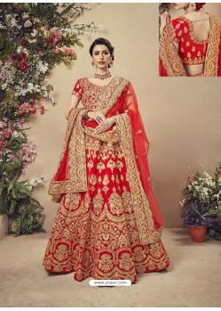 Elegant Red Velvet Heavy Embroidered Bridal Lehenga Choli
