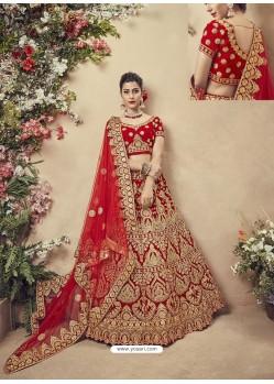 Graceful Red Velvet Heavy Embroidered Bridal Lehenga Choli
