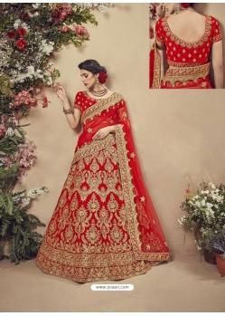 Spectacular Red Velvet Heavy Embroidered Bridal Lehenga Choli