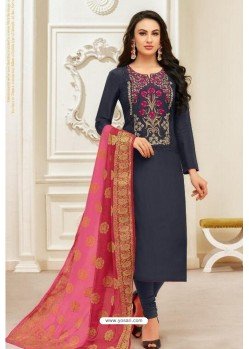 Dark Blue Pure Upada Silk Embroidered Churidar Suit