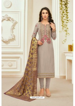 Light Grey Pure Upada Silk Embroidered Churidar Suit