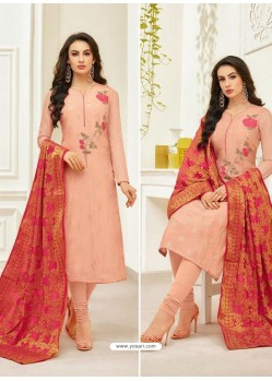 Light Orange Pure Upada Silk Embroidered Churidar Suit