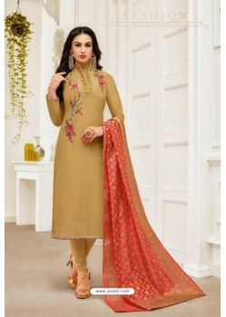 Golden Pure Upada Silk Embroidered Churidar Suit