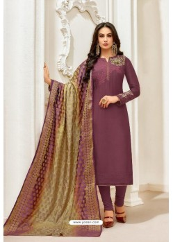 Purple Pure Upada Silk Embroidered Churidar Suit