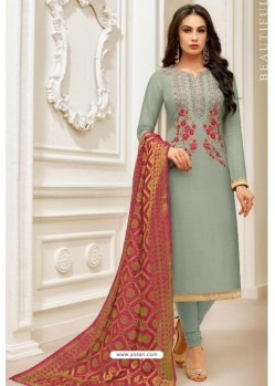 Aqua Grey Pure Upada Silk Embroidered Churidar Suit