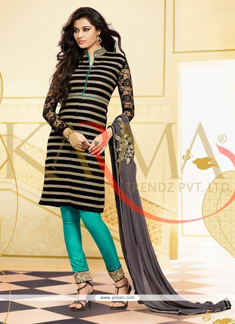 Pleasant Black And Sea Green Embroidery Churidar Suit