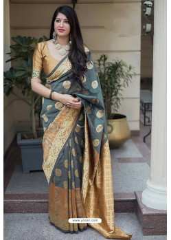 Grey Banarasi Silk Weaving Patola Silk Designer Saree